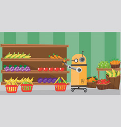 Use robotic technologies in shopping vector