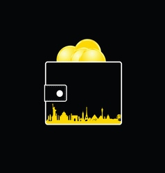wallet with money gold and city vector image