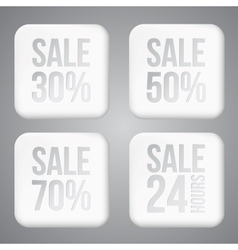 White plastic SALE buttons vector