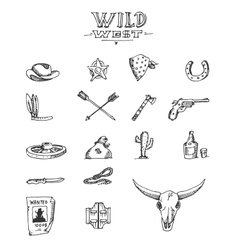 Wild west design sketch vector image