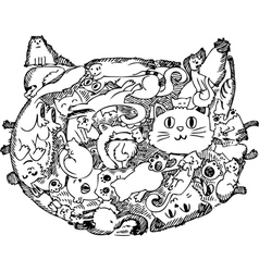 Cat face sketchy doodle vector image vector image