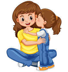 daughter kissing her mother vector image vector image