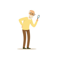 old male character weak eyesight colourful toon vector image