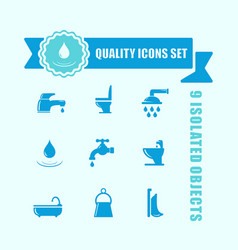 set of water and bathroom icon with blue tape vector image vector image