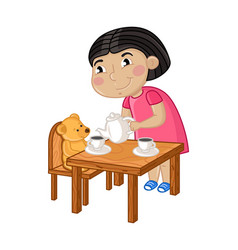 smiling little girl gaming in tea party vector image vector image