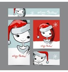 Christmas cards with santa girl sketch for your vector image vector image