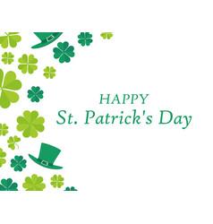 happy st patricks day leprechaun hat and green vector image vector image