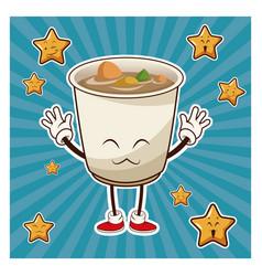 kawaii soup ramen japanese food funny character vector image