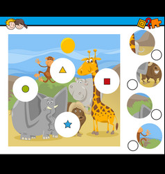 match pieces game with cartoon animals vector image