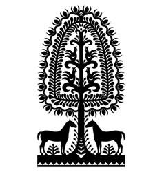 polish folk art pattern wycinanki kurpiowskie in b vector image