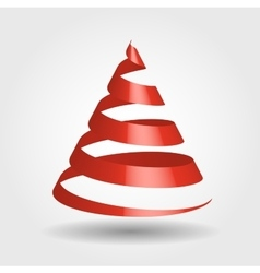 Red ribbon in a shape of Christmas tree vector image vector image