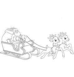 santa claus is riding on with gifts vector image