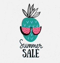 Summer background with hand drawn pineapple with vector