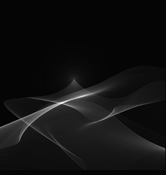 abstract white wave on a black background eps 10 vector image