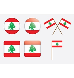 badges with flag of Lebanon vector image vector image