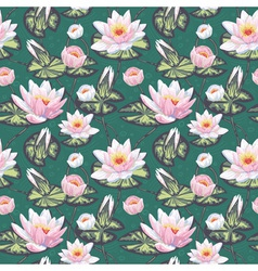 Elegant floral seamless pattern with water lily vector