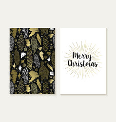 Merry christmas card set retro tribal gold pattern vector image vector image