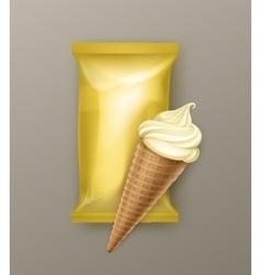 Vanilla Banana Ice Cream Waffle Cone with Foil vector image vector image