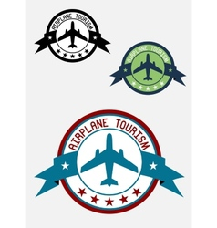Airplane tour logo vector image vector image