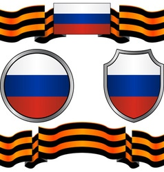 flag of russia and georgievsky ribbon vector image