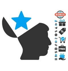 Open Head Star Icon With Free Bonus vector image vector image