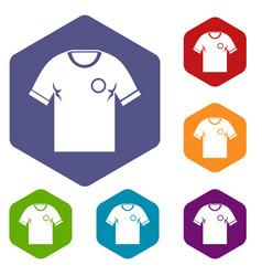 soccer shirt icons set hexagon vector image vector image