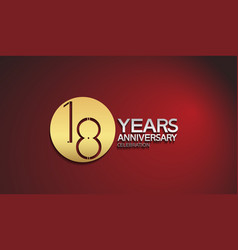 18 years anniversary logotype with golden circle vector