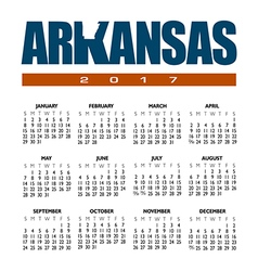 2017 Arkansas Calendar vector image
