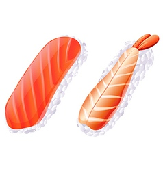 A meat and a fish sushi vector