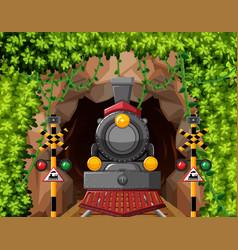 A train in tunnel scene vector