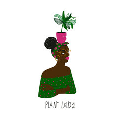 Afro american woman with a plant pot vector