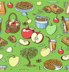 apples healthy food applepie and applejuice vector image
