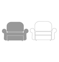 Armchair grey set icon vector