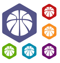 basketball icons hexahedron vector image