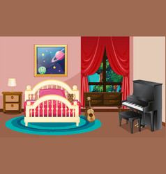 Bedroom scene with piano and bed vector