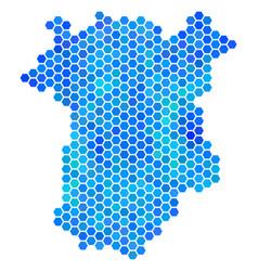 Blue hexagon chechnya map vector