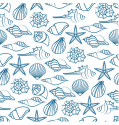Blue line seamless pattern of seashells vector