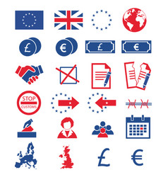 brexit icon set vector image