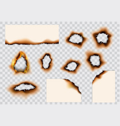 burnt holes and edges paper pages vector image