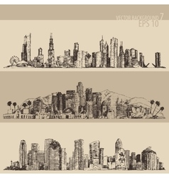 Chicago los angeles houston big city engraved vector