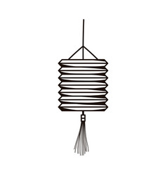 Chinese lantern ornament isolated icon line style vector