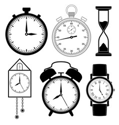 clock icons set black flat collection of vector image