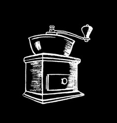 Coffee grinder white chalk on black chalkboard vector
