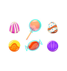 colorful glossy candies set sweets different vector image