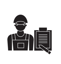 construction quality control black concept vector image