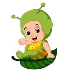 Cute kids cartoon wearing caterpillar costume vector