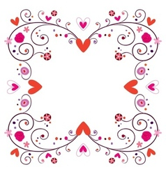 Decorative frame with hearts flowers 2 vector