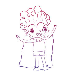 Degraded outline boy vampire with cape and curly vector