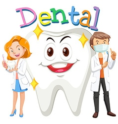 Dentists and clean tooth vector