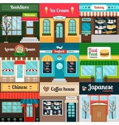 Different kind of food restaurants facade vector image